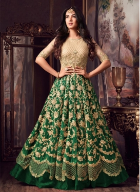 Banarasi Silk Beige and Green Kameez Style Lehenga Choli