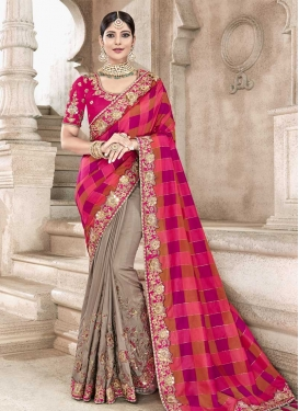 Banarasi Silk Beige and Rose Pink Half N Half Trendy Saree