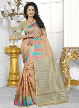 Banarasi Silk Beige and Salmon Resham Work Contemporary Style Saree