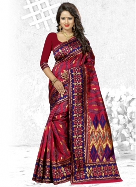 Banarasi Silk Blue and Crimson Thread Work Contemporary Style Saree