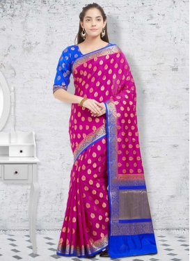 Banarasi Silk Blue and Fuchsia Thread Work Contemporary Style Saree