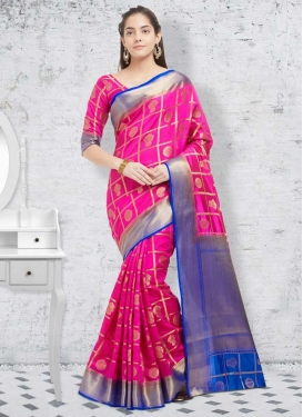 Banarasi Silk Blue and Fuchsia Thread Work Traditional Saree