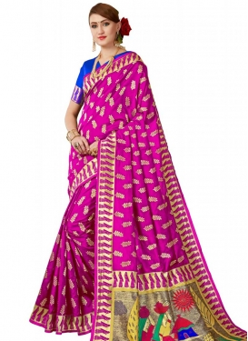 Banarasi Silk Blue and Rose Pink Designer Contemporary Style Saree