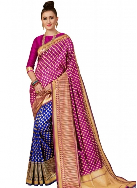 Banarasi Silk Blue and Rose Pink Half N Half Trendy Saree For Ceremonial