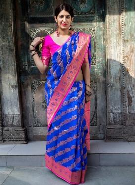 Banarasi Silk Blue and Rose Pink Thread Work Trendy Classic Saree
