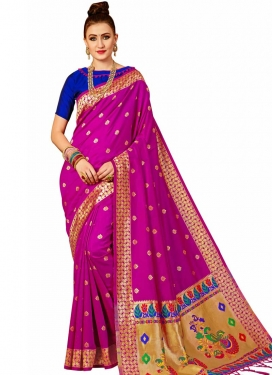 Banarasi Silk Blue and Rose Pink Trendy Saree For Festival