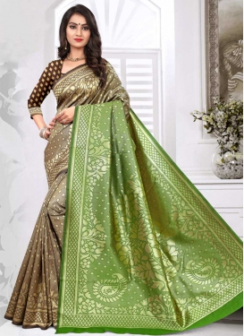 Banarasi Silk Brown and Green Designer Contemporary Saree For Ceremonial