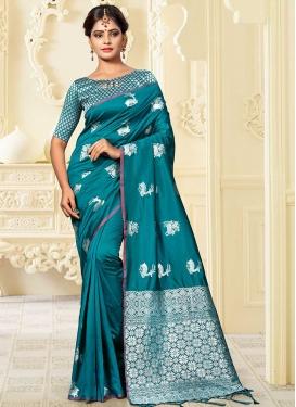 Banarasi Silk Contemporary Saree For Festival