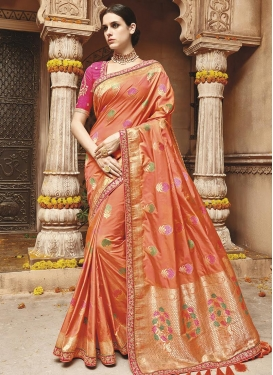 Banarasi Silk Coral and Rose Pink Lace Work Traditional Saree