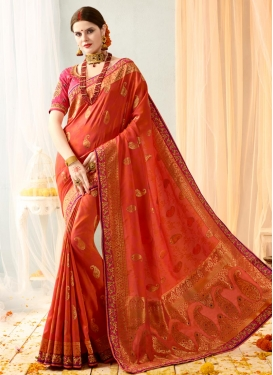 Banarasi Silk Coral and Rose Pink Trendy Classic Saree For Festival