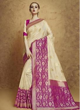 Banarasi Silk Cream and Fuchsia Classic Saree