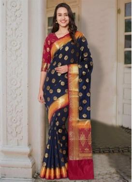 Banarasi Silk Crimson and Navy Blue Thread Work Traditional Saree