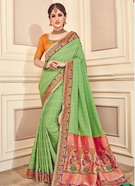 Banarasi Silk Embroidered Work Contemporary Style Saree