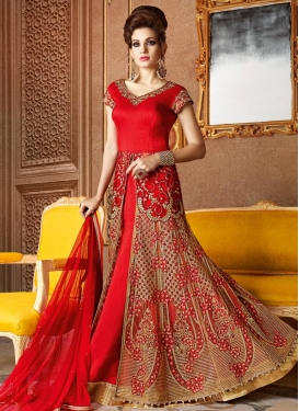 Banarasi Silk Embroidered Work Designer Kameez Style Lehenga
