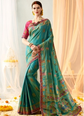 Banarasi Silk Embroidered Work Light Blue and Rose Pink Contemporary Style Saree