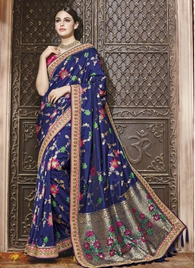 Banarasi Silk Embroidered Work Navy Blue and Rose Pink Contemporary Style Saree