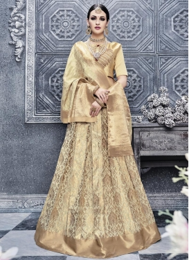 Banarasi Silk Embroidered Work Trendy A Line Lehenga Choli