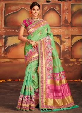Banarasi Silk Embroidered Work Trendy Saree