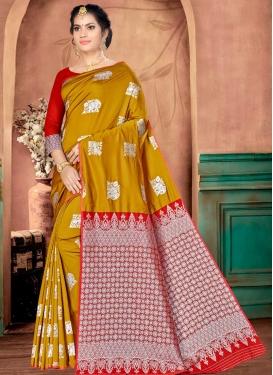 Banarasi Silk Gold and Red Thread Work Designer Contemporary Saree