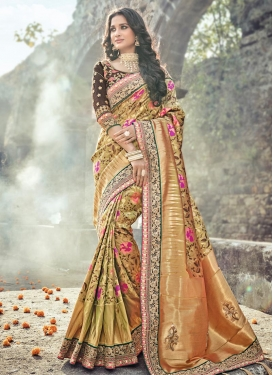 Banarasi Silk Gold Zardosi Work Contemporary Style Saree