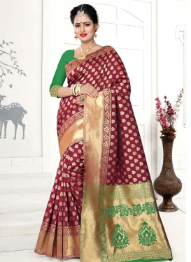 Banarasi Silk Green and Maroon Contemporary Saree