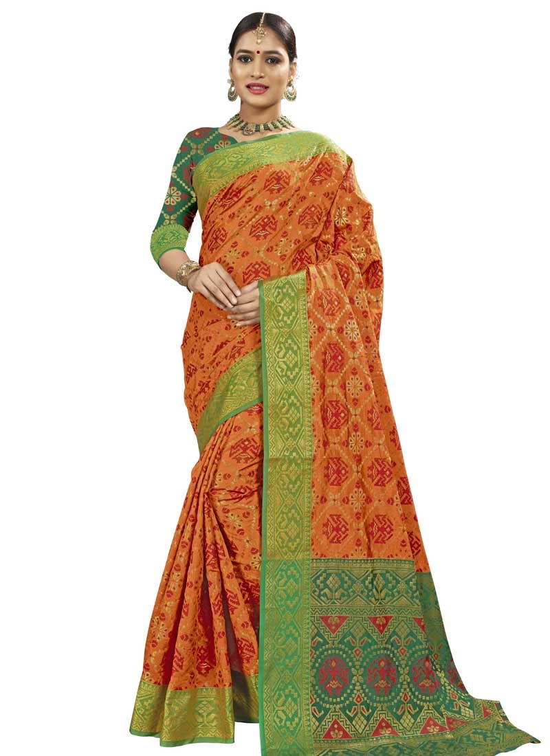 Banarasi Silk Green and Orange Thread Work Trendy Classic Saree