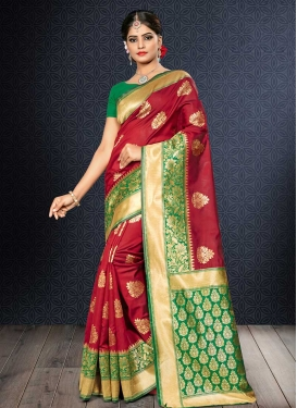 Banarasi Silk Green and Red Contemporary Style Saree For Festival