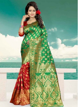 Banarasi Silk Green and Red Thread Work Half N Half Saree