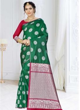 Banarasi Silk Green and Red Traditional Saree