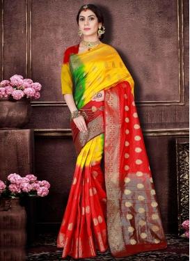 Banarasi Silk Green and Red Trendy Classic Saree For Ceremonial
