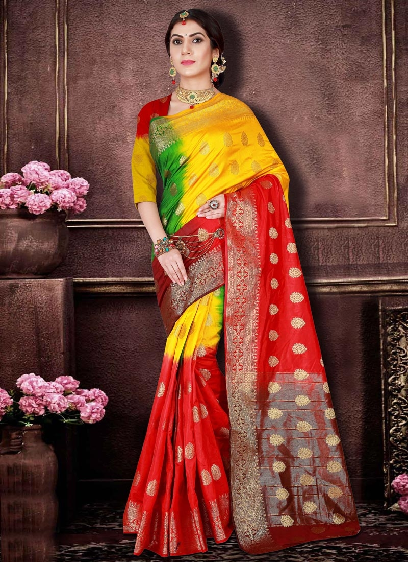Banarasi Silk Green and Red Trendy Classic Saree For Ceremonial