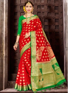 Banarasi Silk Green and Red Trendy Saree For Festival