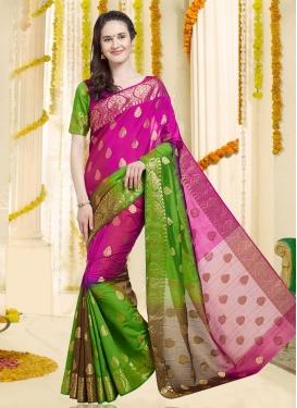 Banarasi Silk Green and Rose Pink Classic Saree