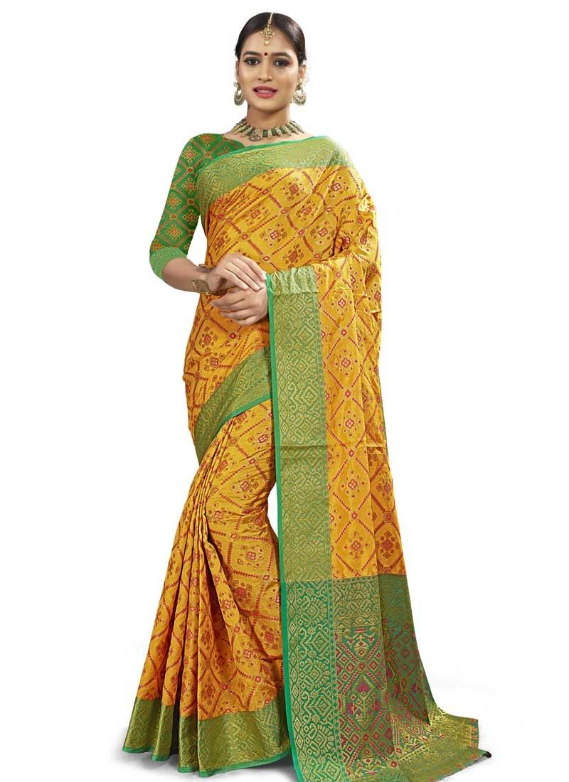Banarasi Silk Green and Yellow Trendy Saree