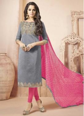 Banarasi Silk Grey and Hot Pink Trendy Churidar Salwar Kameez