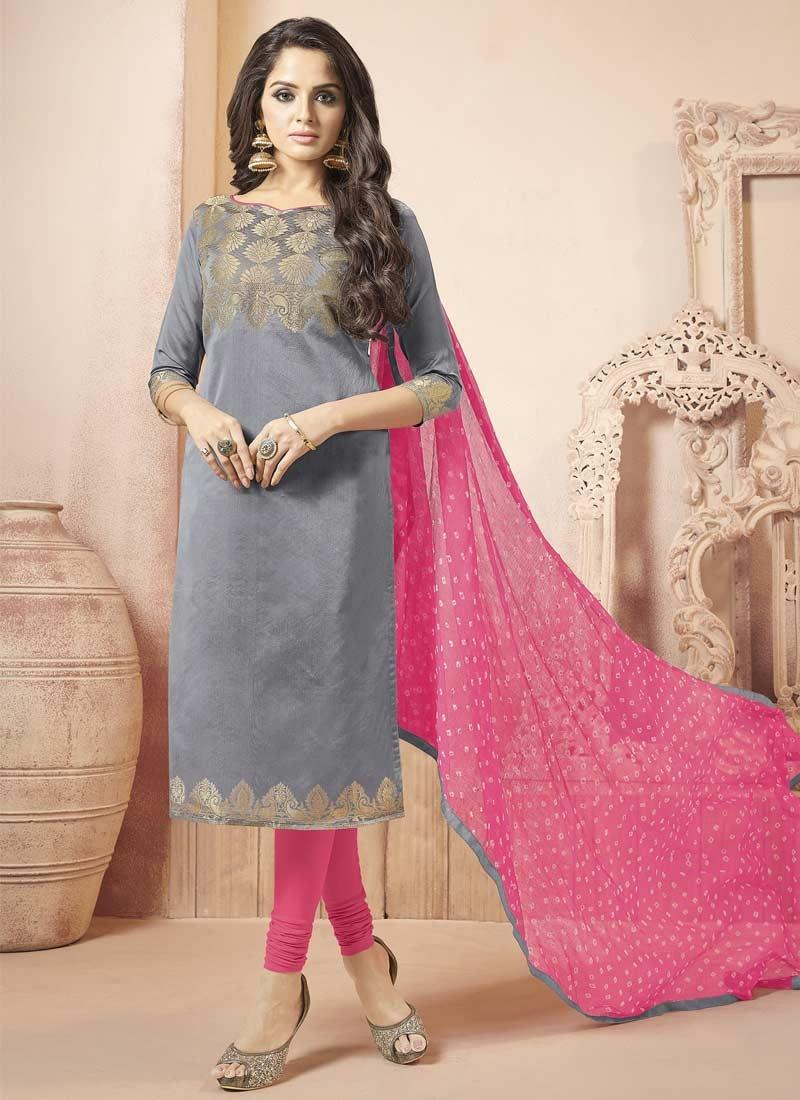 0ffece12ba Buy Banarasi Silk Grey and Hot Pink Trendy Churidar Salwar Kameez Online