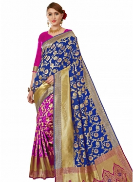 Banarasi Silk Half N Half Designer Saree