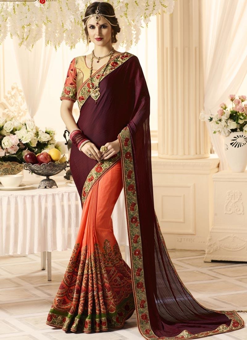 Banarasi Silk Half N Half Saree For Bridal