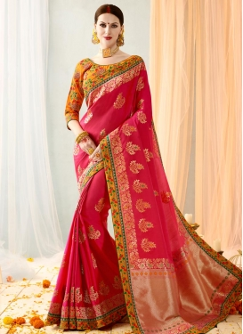 Banarasi Silk Hot Pink and Mustard Contemporary Saree