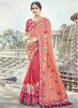 Banarasi Silk Hot Pink and Salmon Half N Half Saree For Bridal