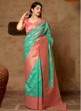 Banarasi Silk Hot Pink and Turquoise Thread Work Designer Contemporary Style Saree