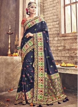 Banarasi Silk Lace Work Contemporary Saree