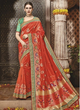 Banarasi Silk Lace Work Contemporary Style Saree