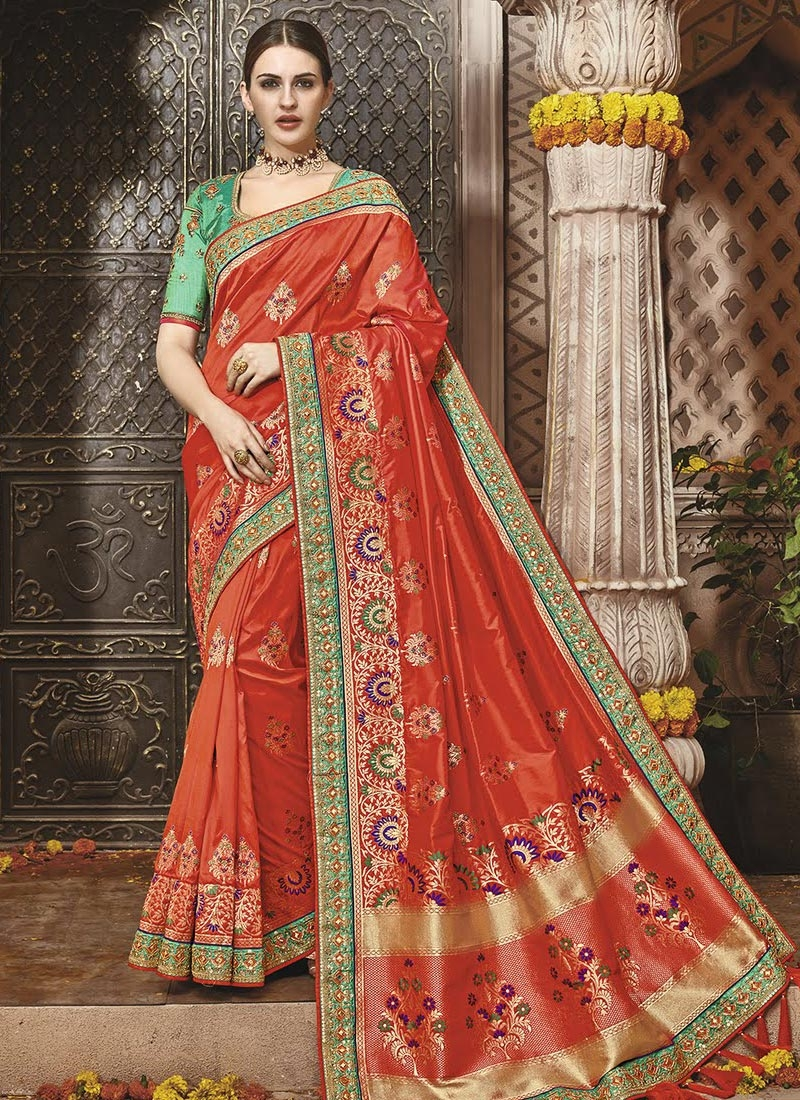 Banarasi Silk Lace Work Contemporary Style Saree