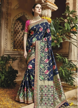 Banarasi Silk Lace Work Navy Blue and Rose Pink Contemporary Saree