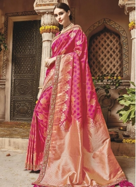 Banarasi Silk Lace Work Rose Pink and Salmon Contemporary Style Saree