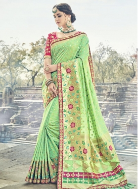 Banarasi Silk Lace Work Trendy Classic Saree