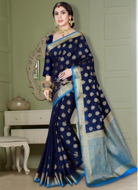 Banarasi Silk Light Blue and Navy Blue Thread Work Contemporary Style Saree