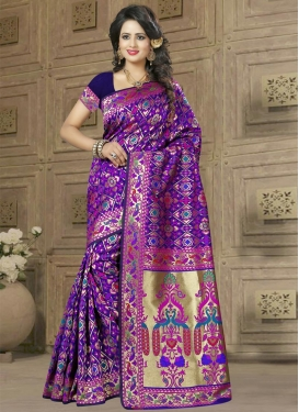 Banarasi Silk Magenta and Navy Blue Resham Work Traditional Saree
