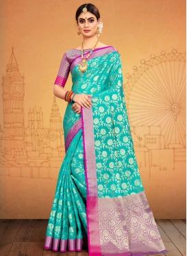 Banarasi Silk Magenta and Turquoise Traditional Saree